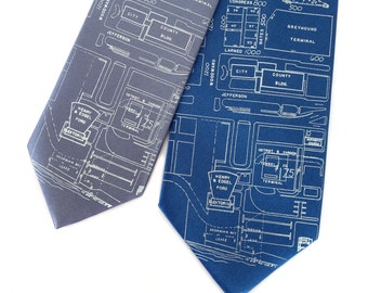 Detroit Map Necktie. Campus Martius & Woodward Avenue area tie. Made in Michigan. Shop local, ships from Detroit!
