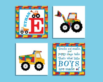 Lego Trucks Giclee Art Print Set, Personalized Nursery Wall Art, Boy's Room Decor, Baby Shower, New Born Gift