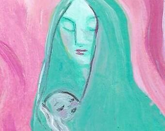 Mother Original Painting ACEO Art Card ATC