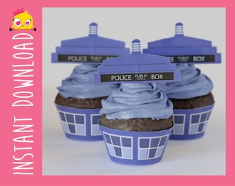 TARDIS Inspired Cupcake Wrappers & Toppers PDF