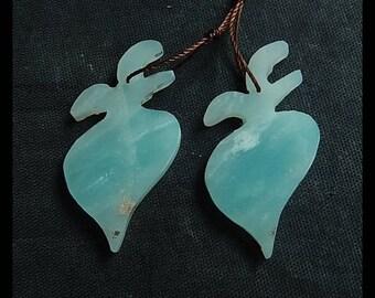 Sale!Amazonite Gemstone Fish Earring Bead,38x18x3mm,6.3g(CE007)