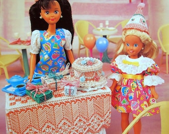 Surprise Party By Mary Layfield And Annie's Fashion Doll Plastic Canvas Club Vintage Plastic Canvas Pattern Leaflet 1995