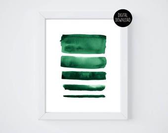 green lines watercolor painting // 8x10 // printable digital download