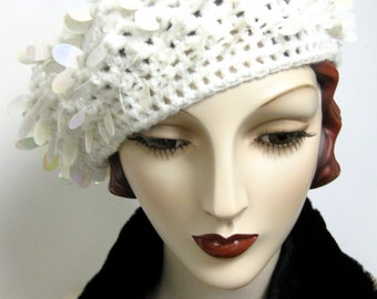 ON SALE/ Hand Crocheted White Beret with Spangles