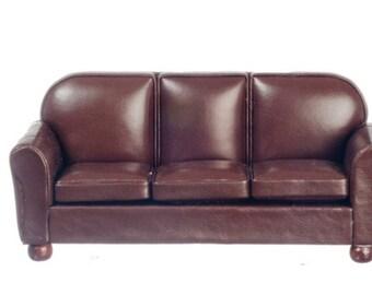Dollhouse Miniature Brown Sofa 1:12 Scale