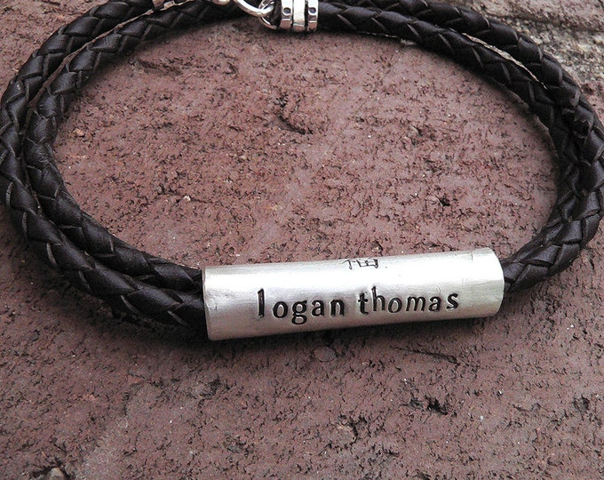 Convertible Men's Latigo Leather and Sterling Silver Hand-Hewn Custom Necklace or Bracelet - Many Font Choices - Rustic and Durable