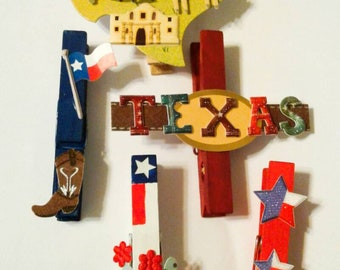 Texas magnets, refrigerator magnets, Texas kitchen decor, Texan Housewarming gift, State magnet, clothespin magnets, magnetic clothespins