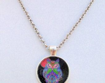 Owl Necklace, Art Pendant Necklace, Owl Lover Jewelry, Owl Pendant Necklace, Glass Owl Jewelry, Girl Gift, Gift for Her / Custom Length