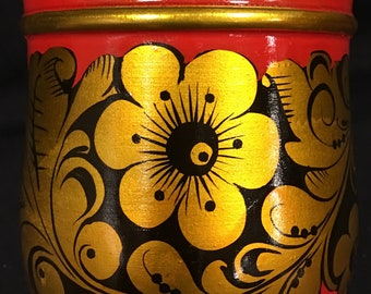 Wood  Painted Art Cup