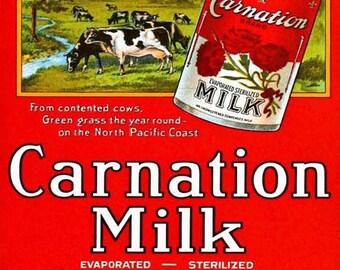 Carnation Milk Poster Art - Carnation Milk Art Print - Vintage Print Art - Home Decor