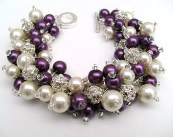 Bridal Jewelry, Plum Wedding, Pearl Bridesmaid Bracelet, Pearl and Rhinestone Bracelet, Cluster Bracelet, Pearl Bracelet, Plum Bridesmaids