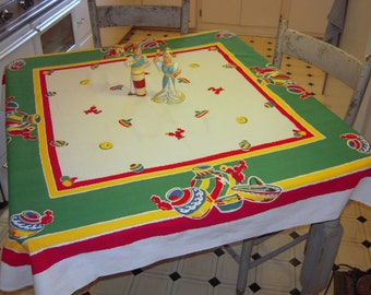 Vintage Startex Tablecloth Mexican Pottery and Stripes Southwestern Retro Kitchen