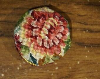 SALE! Dollhouse Miniature Petit Point Pillow--1 inch Chrysanthemum
