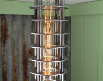 Sizewell B : Deco-punk / Steampunk inspired pendant light with a long tube decorative fillament bulb