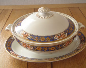 English china Tureen and Small Serving Plate pattern Rosette