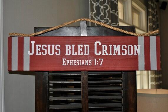 & JESUS BLED CRIMSON Door Hanger Ephesians 1:7