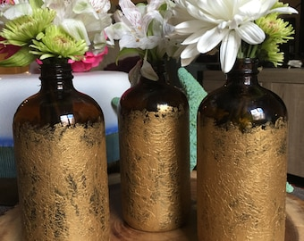 Gold hand painted flower bottles
