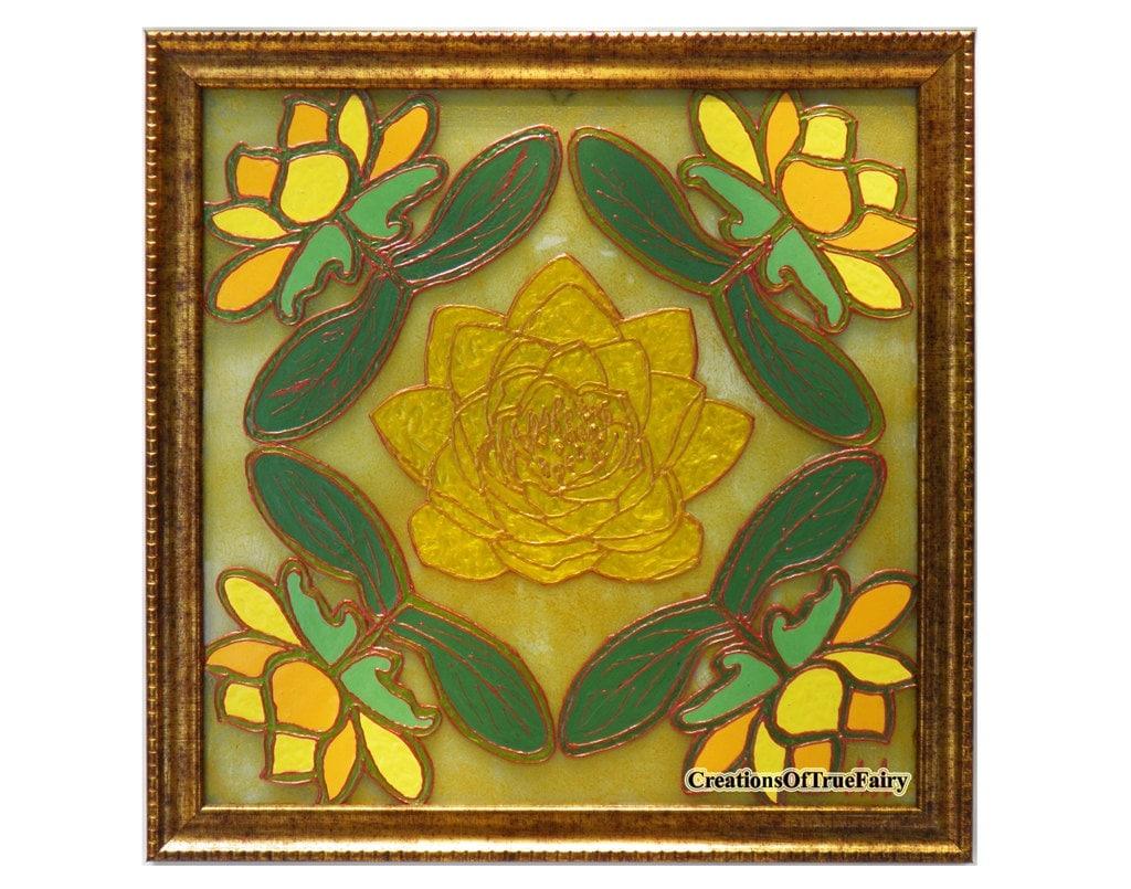 Yellow lotus glass painting Water lily art Modern wall art