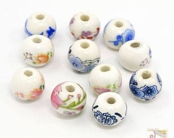 10 porcelain beads mixed colors, 12mm (pc74) China-inspired patterns