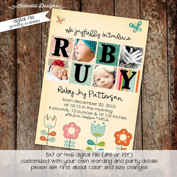 boho birth announcement ultrasound photo newborn picture floral couples baby shower invitation blessing baptism coed | 433 Katiedid Designs