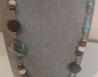 """32"""" Aqua Asymmetrical Necklace Agate and Wood on Silver Chain"""