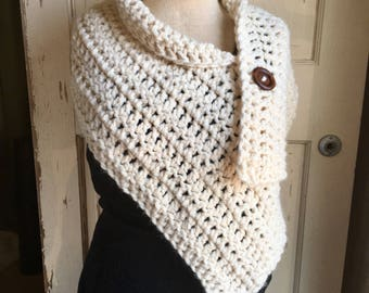 Button Wrap Shrug Cream Wool Scarf