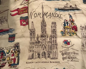 Vintage Normandy France Souvenir Scarf - Normandy Tourist Scarf - Souvenir Normandy Region - Notre-Dame Cathedral Rouen Novelty Scarf