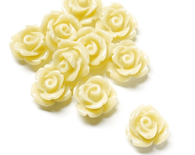 Resin Cabochon, Rose 10mm, Butter - 10 Pieces (RSCRS-10BT)