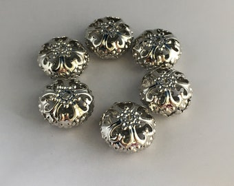 Large silver filigree 6 pearl beads