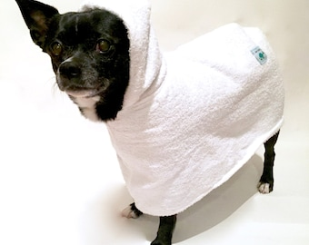 Dog Bath Robe--Terrycloth Hooded Bathrobe Towel for Pets