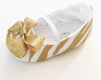 Baby Girl Shoes Toddler Girl Shoes Infant Shoes Soft Soled Shoes Wedding Shoes Gold Metallic Animal Print Shoes Gold Glitter Bow Shoes -Bryn