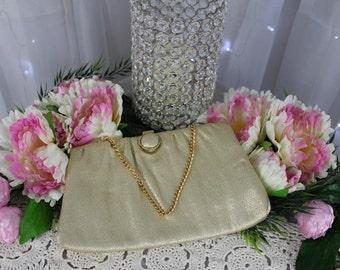 Vintage 1950's Gold Evening Bag,Vintage Handbags,Antique Purse,Victorian Purse,Clutches,Metallic Handbag,Gold Foiled Purse,Dinner Purse