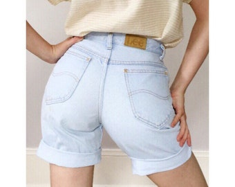 Vintage 80s Lee High Waisted Light Wash Denim Wedgie Shorts