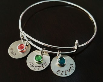 Mom Bangle Bracelet Handstamped Family Children Name Birthstone Personalized bangle