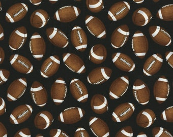 The Whole Nine Yards by Dan Morris for RJR Fabrics - Full or Half Yard of Footballs Tossed on Black