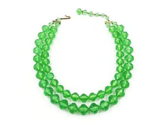 West Germany Green Lucite Necklace - Green Beads, Multi Strand Necklace, Faceted Beads, Lucite Necklace, Early Plastic, Vintage Necklace
