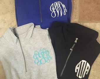 INSTOCK Monogrammed Quarter Zip Sweatshirt