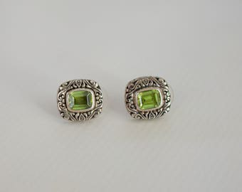 Handcrafted Silver and Peridot Earrings.
