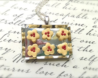 Miniature Cookie Tray Necklace. Polymer Clay Jewelry. Miniature Food. Dessert. Cookie. Flower. Cute Kawaii. Colorful Kitsch. Holiday. Silver