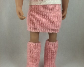 """American Girl Doll Boots and Skirt - 18"""" Doll Knitted Skirt and Boots. Fits 18 inch Dolls like Maplela and Gotz. American Girl Shoes."""