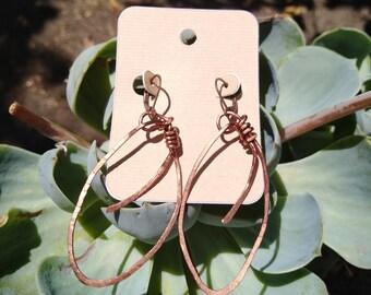 Hand wapped copper earrings