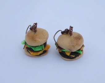 Food Jewelry, Tiny Food Jewelry, Food Jewelry in Handmade, Food Jewelry Miniatures, Women's Food Earrings, Double Cheeseburger