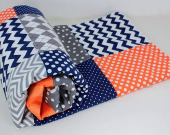 Patchwork Quilt, Baby Blanket, Baby Quilt, Baby Bedding, Baby Shower Gift, Minky Baby Blanket, Orange, Navy, Blue, Gray, Grey, Baby Boy