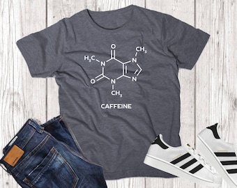 Coffee Caffeine Molecule Science Chemistry Funny T Shirt Tee Top Sweatshirt Adult Womens Mens Gift Present Small - XXXL Various Colors