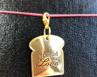 Toast Spread The Love Planner Charm - tn charm, purse charm, planner charm, travelers notebook charm