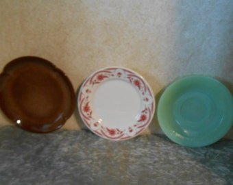 3 Collectible Glass & Pottery Saucers