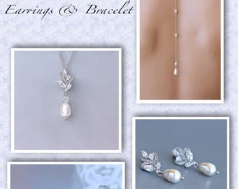 Pearl Earrings, Necklace Backdrop & Bracelet Set, Backdrop Necklace Bridal Set, Wedding Jewelry,Jewelry Set, Bridesmaid Jewelry Set, FLEUR 5