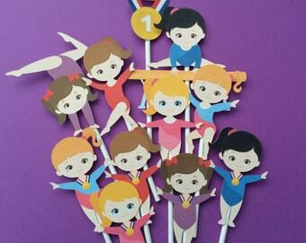 Gymnastics cupcake toppers, 11 Gymnasts cupcake toppers, gymnastics toppers, gymnasium party, gymnastics party cupcake toppers, gymnastics