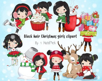 Black  hair Christmas girl Clip art instant download PNG file - 300 dpi
