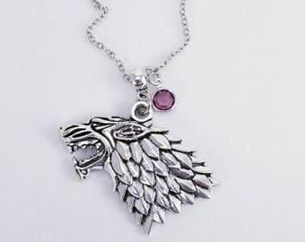 Stark Direwolf Necklace, Game of Thrones Jewelry, House Stark Necklace, Arya Stark, Sansa Stark, Game of Thrones Gift, Birthstone Jewelry